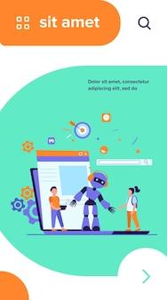 Schoolactiviteit en robotica klasse concept. de werkende robot van de jongen met afstandsbediening