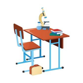 Schoolbank met leerboek, schoolmicroscoop en wetenschappelijke kolf