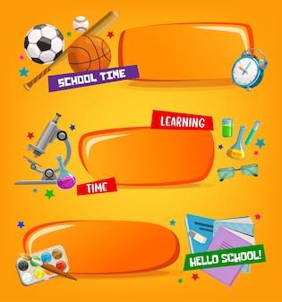 Schoolbanners, educatieve frames met cartoonstudiemateriaal en briefpapier sportballen, vleermuis en wekker. leermiddelen microscoop, kolven, bril met notitieboekje, leerboek en gum