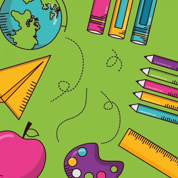 Schoolbenodigdheden, boeken, potloden, regel Gratis Vector
