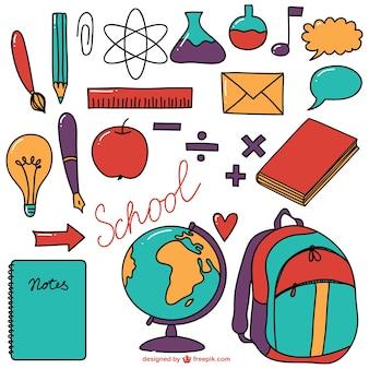 Schoolbenodigdheden bonte verzameling