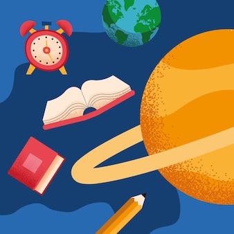 Schoolbenodigdheden in de ruimte set pictogrammen
