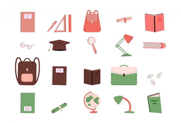 Schoolbenodigdheden of universiteitsonderwijskantoorbehoeften - geïsoleerde reeks