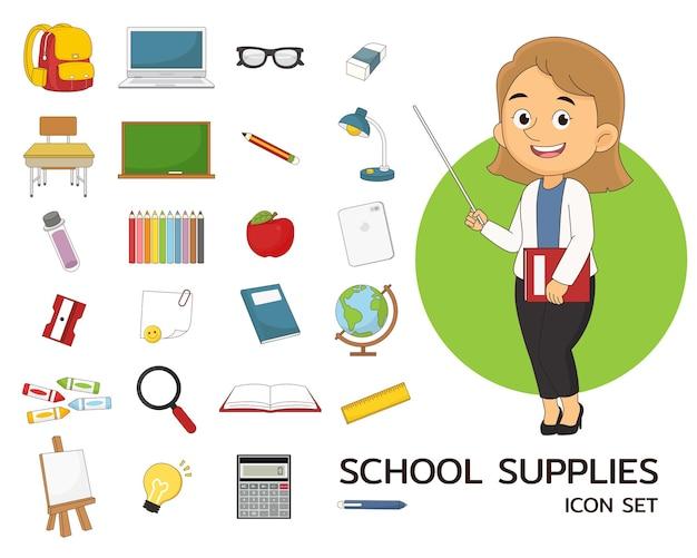 Schoolbenodigdheden set concept plat pictogrammen