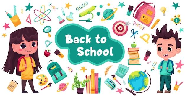 Schoolbenodigdheden set met schattige studenten liniaal pennen borstel notebook rugzak globe aquarel