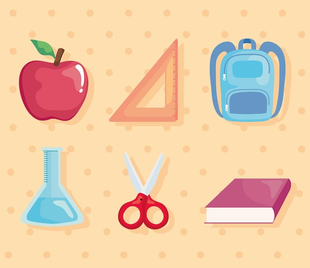 Schoolbenodigdheden set pictogrammen