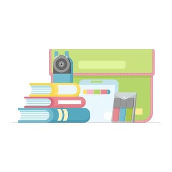 Schoolbenodigdheden stiften kleurpotloden mappenslijper en boeken vector