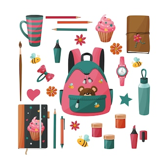 Schoolbenodigdheden voor meisje. goederen voor creativiteit en studie
