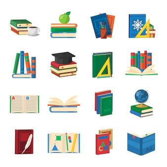 Schoolboeken icons set
