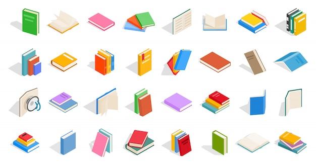 Schoolboeken pictogrammenset op witte achtergrond
