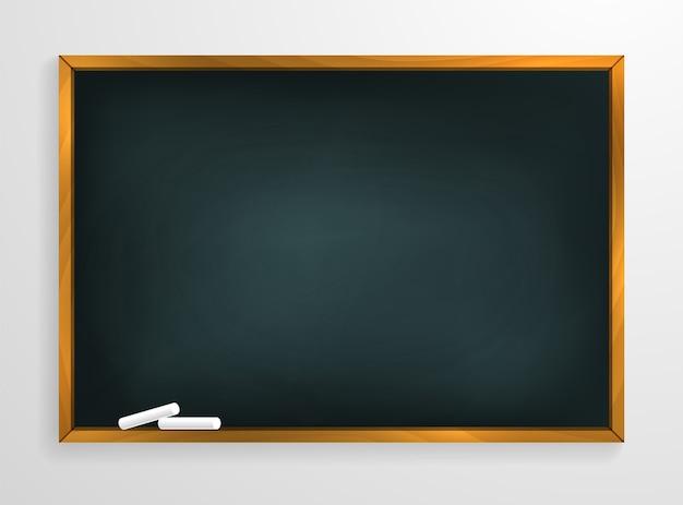 Schoolbord achtergrond en houten frame, uitgewreven vuil schoolbord