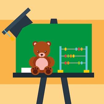 Schoolbord beer teddy abacus en afstuderen cap