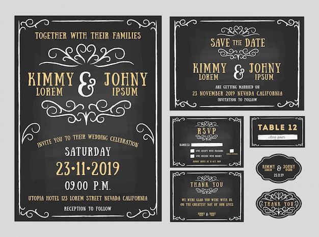 Schoolbord bruiloft uitnodiging sjabloon