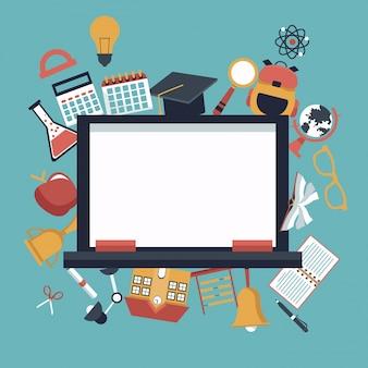 Schoolbord en school pictogrammen pictogrammen instellen