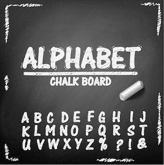 Schoolbord hand tekening alfabet