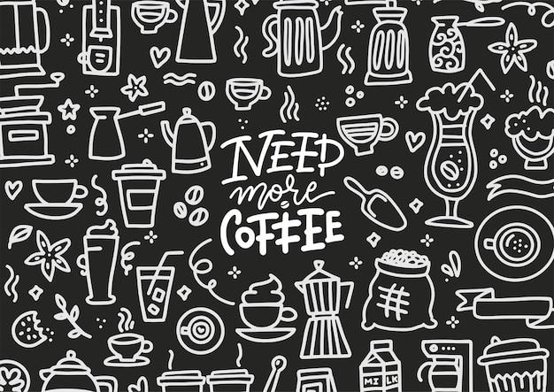 Schoolbord heeft meer koffiebelettering nodig met doodles handgetekende schets