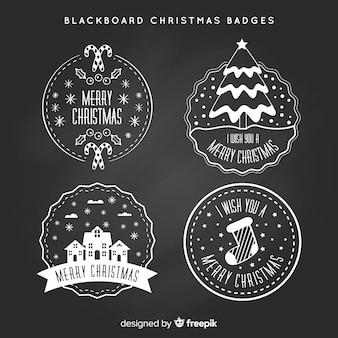 Schoolbord kerst badges collectie