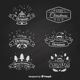 Schoolbord kerst label collectie
