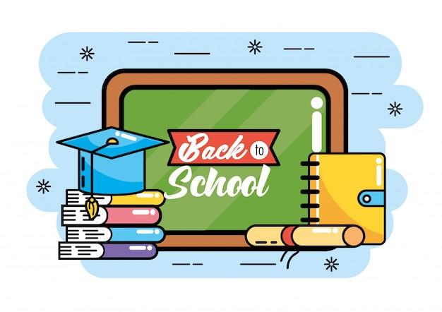 Schoolbord met boeken en afstudeerpet naar school