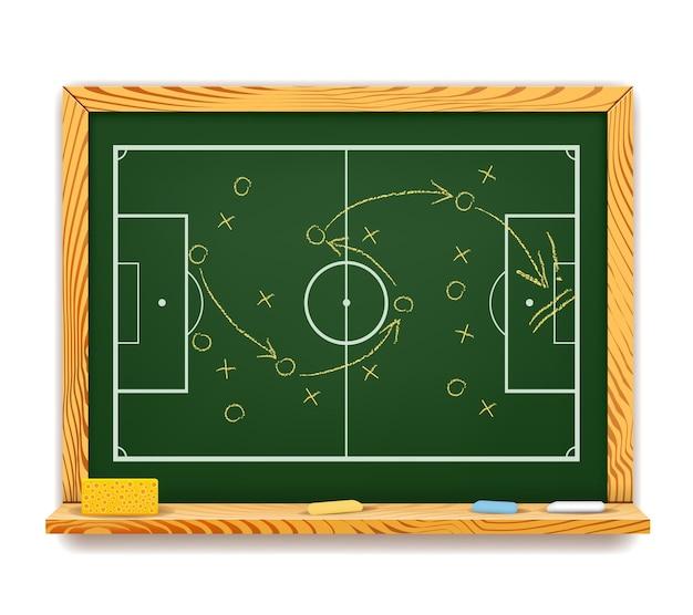 Schoolbord met een schematisch spelplan voor voetbal met een bovenaanzicht van het veld met de posities van de spelers en het traject van de bal met pijlen