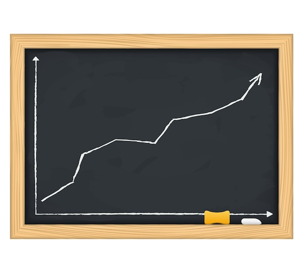 Schoolbord met handgetekende groeiende pijl,