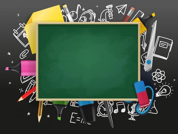 Schoolbord met verschillende onderwijsspullen