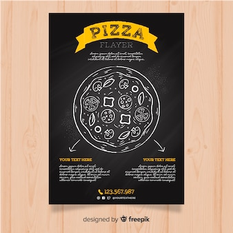 Schoolbord pizza restaurant flyer