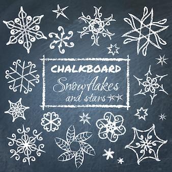 Schoolbord set sneeuwvlokken