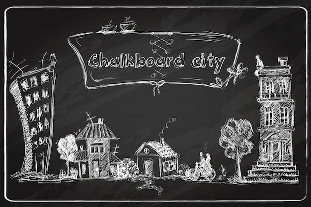 Schoolbord stad doodle