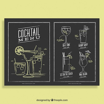 Schoolbord stijl cocktail menusjabloon