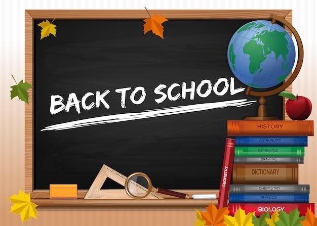 Schoolbord. terug naar school. schoolbord met belettering, boeken en herfstbladeren. vector illustratie