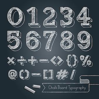 Schoolbord typografie alfabet doodle stijl