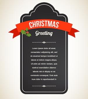 Schoolbord vintage kerstuitnodiging en label