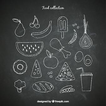 Schoolbord voedsel set