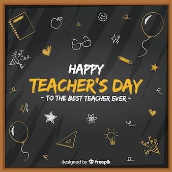 Schoolbord voor platte lerarendag met schattige tekeningen