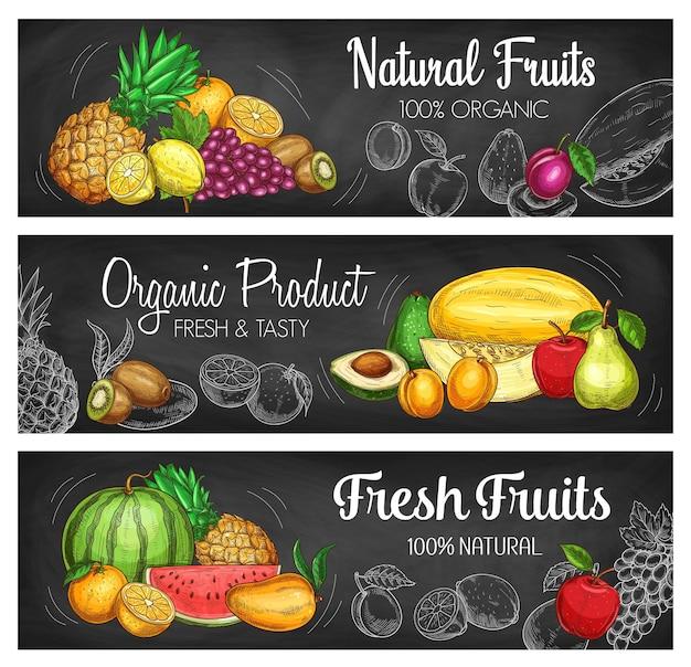 Schoolbordbanners met tropisch fruit en bessen