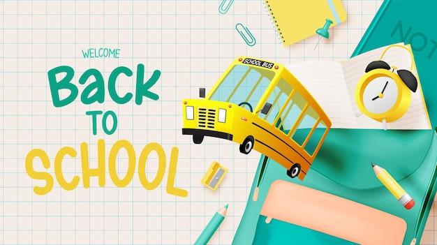 Schoolbus 3d-kunststijl met schoolbenodigdheden vectorillustratie