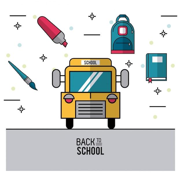 Schoolbus en borstel en marker rugzak en boek