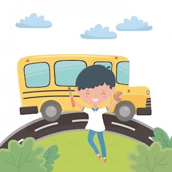 Schoolbus en jongen