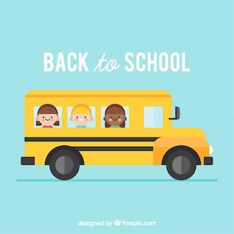 Schoolbus en kinderen met een plat ontwerp