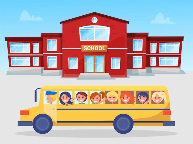 Schoolbus en leerlingen, schooljongen en schoolmeisje