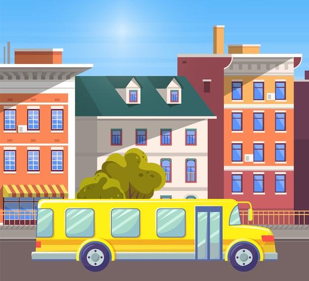 Schoolbus in de oude stad