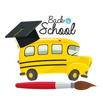 Schoolbus met afgestudeerde pet en penseel