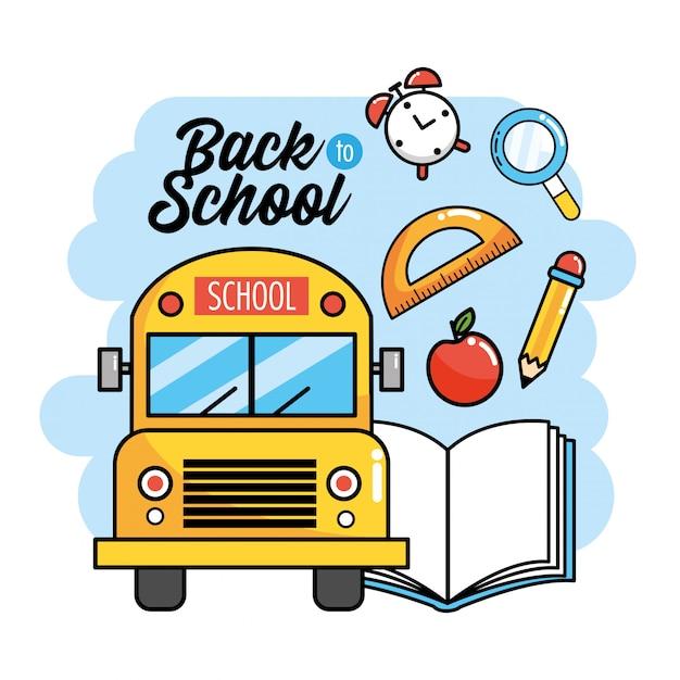 Schoolbus met boek en gradenboog aan rugschool