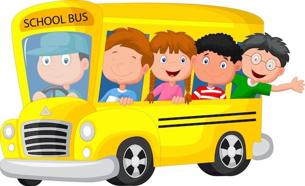 Schoolbus met gelukkige kinderen