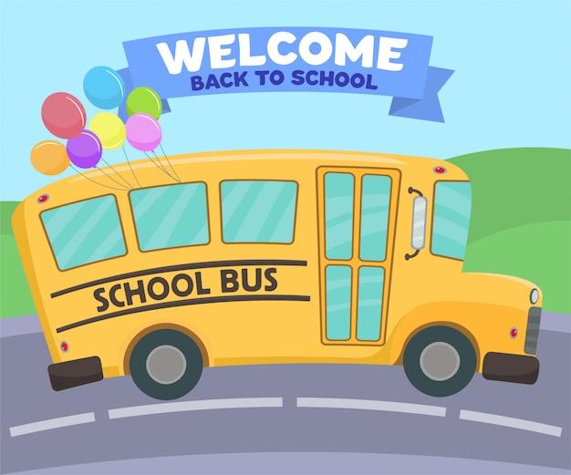 Schoolbus met veelkleurige ballonnen