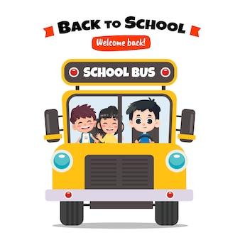 Schoolbus terug naar school conceptontwerp