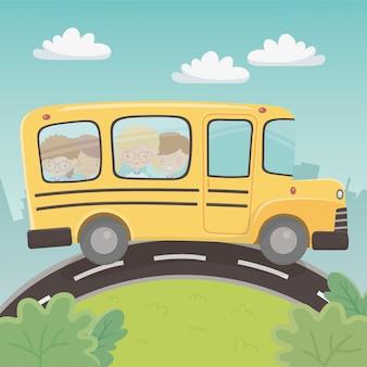 Schoolbusvervoer met groep jonge geitjes in het landschap