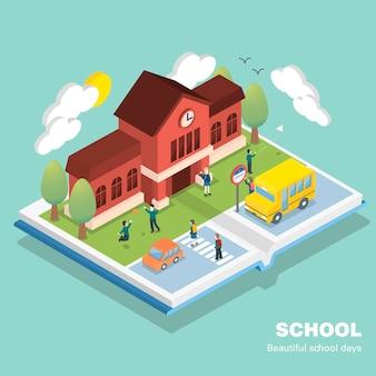 Schoolconcept in 3d isometrisch plat ontwerp