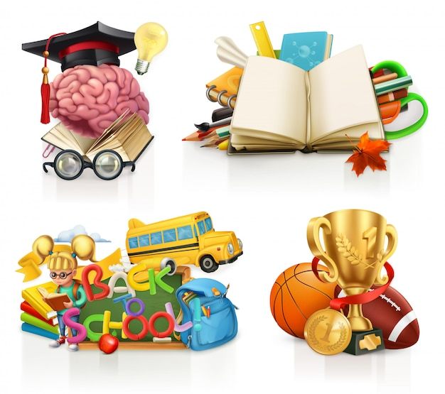 Schoolconcepten, clipart-elementen instellen